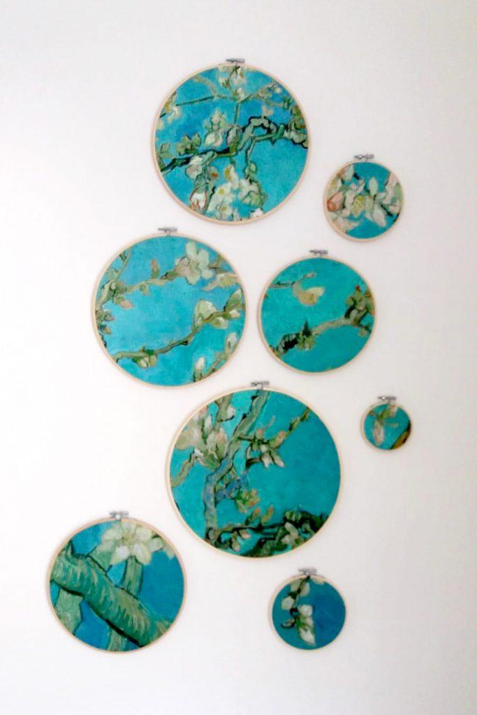 interieur wanddecoratie in borduurringen: Amandelbloesem van Vincent van Gogh