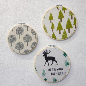 wanddecoratie herfstboom denneboom kerstboom quote world find yourself